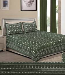 Olive Green Pure Cotton Handloom Printed King Size Bedsheet with 2 Pillow Covers