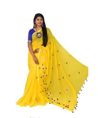 Cotton silk Handloom saree with blouse piece