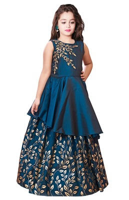 White Button New Kids Blue Embroidery N Golden foil Satin redaymade Festive Gown Dress for Girls