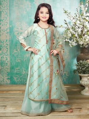White Button New Girl's Chanderi Silk Firozi Palazzo Salwar Suit for kids