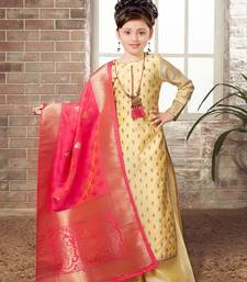 White Button Girls Lime yellow Chanderi Silk Embroidery readymade salwar with palazzo suit set