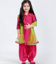White Button Girl's Silk Blend Patiala Suit