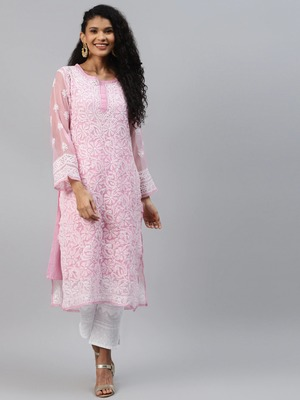 Ada Pink Hand Embroidered Chikankari Georgette Kurti