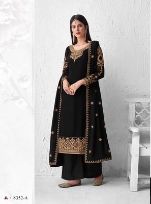 Black thread embroidery faux georgette salwar
