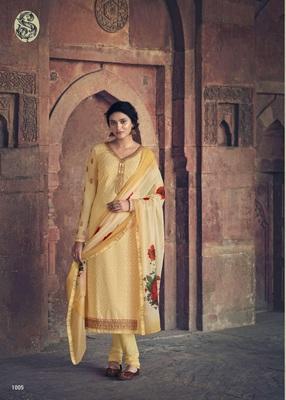 Golden thread embroidery faux georgette salwar
