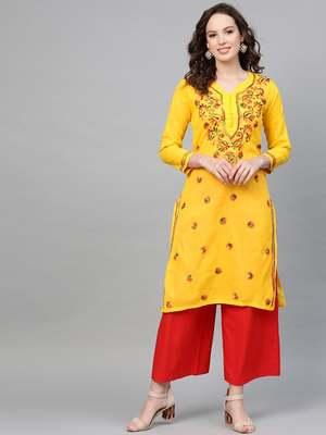 Yellow embroidered cotton kurtis