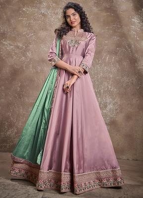 Rose embroidered silk salwar