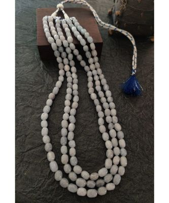 Three Line White Beaded Necklace Set