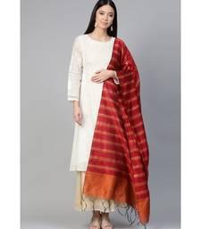 Indo Era Red Art Silk Woven Dupatta