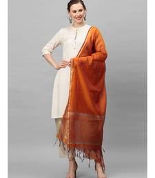 Indo Era Orange Art Silk Woven Dupatta