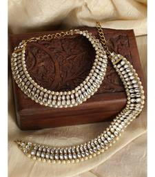 Traditional Gold Plated Kundan Pearl Bridal Wear Anklet