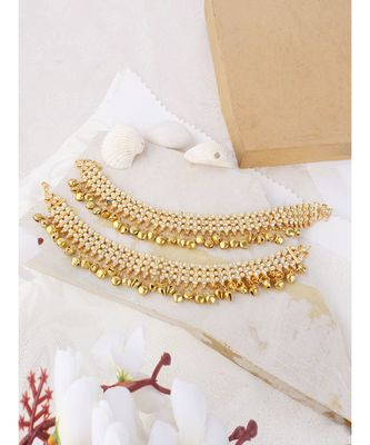 Gold Plated Traditional Ghungroo Anklet/ Payal For Bridals Onesize Gold
