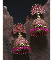 Gold Plated & Pink Peacock Shaped Enamelled Jhumkas
