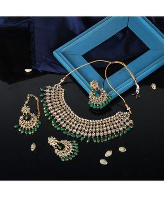 Gold Plated Traditional Kundan Ethnic Choker Necklace With Earring Maangtika