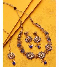 Gold Plated & Blue Kundan Studded Handcrafted Enamelled Jewellery Set Onesize Gold