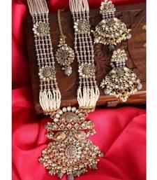 Traditional Gold Plated Pearl Kundan Rani Haar Onesize Grey