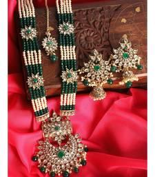 Traditional Gold Plated Pearl Kundan Rani Haar Onesize Green