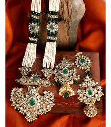 Traditional Gold Plated Pearl Kundan Rani Haar With Earring And Maangtika