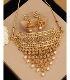 Traditional Gold Plated Designer Tasselled Bridal Necklace With Jhumkas