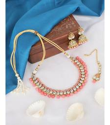 Ethnic Bridal Gold Plated Pink Stone And Pearl Choker With Earring Maangtika