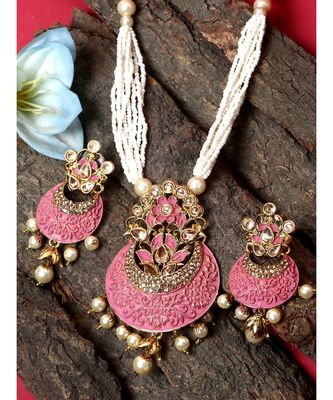 Women Gold Plated Pink & White Stone Studded Pearl Temple Jewellery Set
