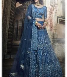 Blue embroidered art silk semi stitched Wedding & Party lehenga