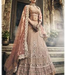 Light-pink embroidered georgette semi stitched Wedding lehenga
