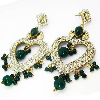 Victorian Heart Shaped Danglers Emerald Green