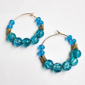 Blue crystal hoops