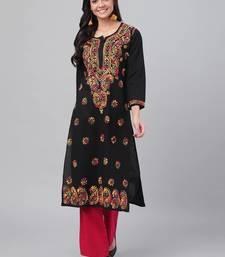 Ada Women's Hand Embroidered Black Cotton Lucknowi Chikankari Straight Kurti
