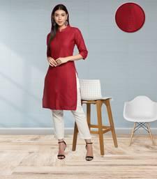 Maroon Cotton Flex Solid Plain Front Slit Straight Women Kurta