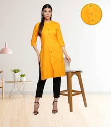 Mustard Yellow Cotton Flex Solid Plain Front Slit Straight Women Kurta