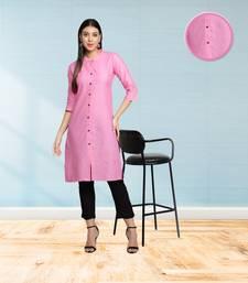 Light Pink Cotton Flex Solid Plain Front Slit Straight Women Kurta
