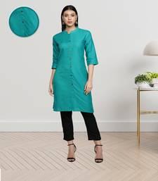 Turquoise Cotton Flex Solid Plain Front Slit Straight Women Kurta