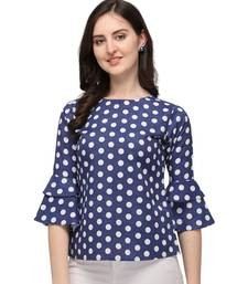 Dark Blue Rayon Polka Dot Printed Womens Stylish Casual Top