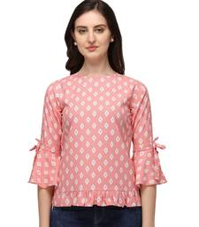Peach Rayon Classic Printed Womens Casual Top BabyPink
