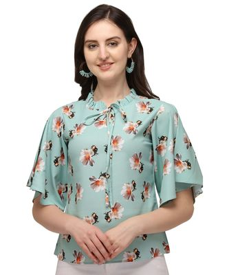 Pista Green Rayon Floral Printed Womens Bell Sleev Casual Top