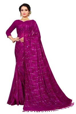 Pink Sequence Work And Piping Border Jacquard Saree With Blouse Piece