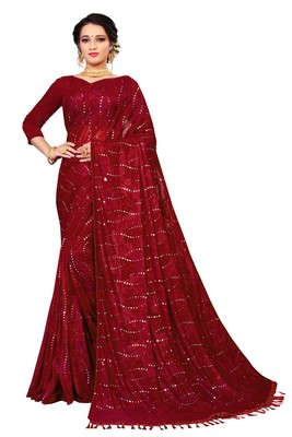 Red Sequence Work And Piping Border Jacquard Saree With Blouse Piece