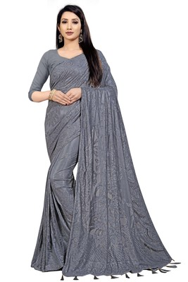 Grey Stone Work With Piping Border Terry Jacquard Saree With Blouse Piece