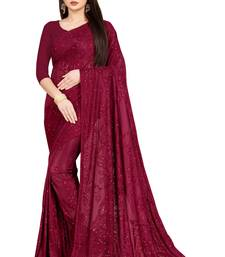 Red Stone Work With Piping Border Terry Jacquard Saree With Blouse Piece