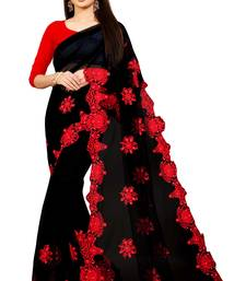 Black Embroidery And Stone Work C Pallu Net Saree With Blouse Piece