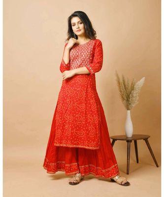 KAAJH Red Bandhej Cotton Suit Set