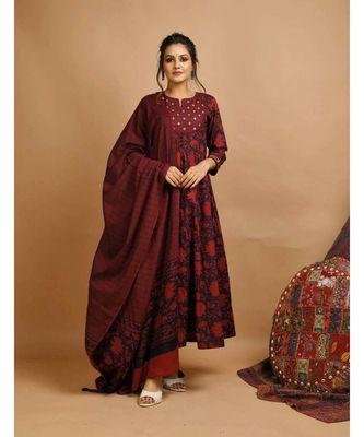 KAAJH Burgundy Floral Printed Cotton Suit Set