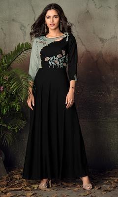 Black resham embroidery rayon salwar