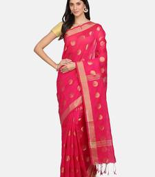 Pink woven silk cotton saree with blouse
