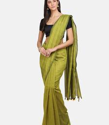 Yellow woven pure linen saree with blouse