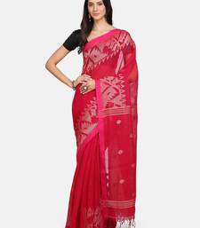 Pink woven pure linen saree with blouse
