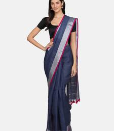Grey woven pure linen saree with blouse