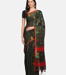 Brown woven pure linen saree with blouse
